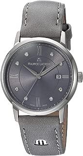 Maurice Lacroix Women's Eliros Stainless Steel Swiss-Quartz Watch with Leather Calfskin Strap, Grey, 16 (Model: EL1094-SS001-250-1)