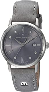Maurice Lacroix Women's Eliros Stainless Steel Swiss-Quartz Watch with Leather Calfskin Strap, Grey, 16 (Model: EL1094-SS001-250-1)