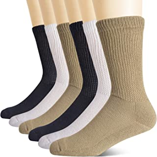 +MD Non-Binding Diabetic Socks for Men Women-6 Pairs Medical Circulatory Crew Socks with Cushion Sole Multicolor 9-11
