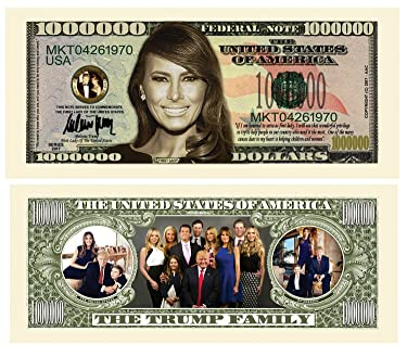 American Art Classics Melania Trump - First Lady - First Family Million Dollar Bill in Currency Holder - Best Gift for Lovers of Donald and Melania Trump
