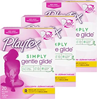 Sponsored Ad - Playtex Gentle Glide Tampons, Fresh Scent Regular Absorbency, 20 Count (Pack of 3)