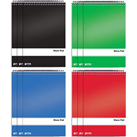 Spiral Steno Pads, 12 Pack, 6 x 9 inches, 80 Sheets, White Paper, Gregg Rule, by Better Office Products, Assorted Solid Colors (Red, Black, Blue, Green), 12 Steno Notebooks