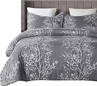 Vaulia Lightweight Microfiber Duvet Cover Set, Grey and White Floral Branches Printed Pattern - Queen Size