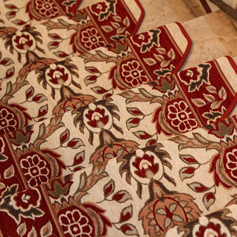 European Stair Tread Rug Floral Design Self-Adhesive Polyester Non-Slip Carpet Floor Pad Foot Mat(24  75Cm),D,5Pcs