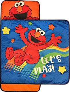 Jay Franco Sesame Street Lets Play Nap Mat - Built-in Pillow and Blanket Featuring Elmo - Super Soft Microfiber Kids'/Toddler/Children's Bedding, Ages 3-7 (Official Sesame Street Product)