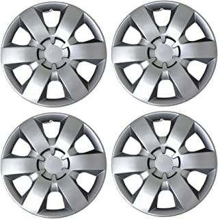 Tuningpros WC3-14-226-S - Pack of 4 Hubcaps - 14-Inches Style 226 Snap-On (Pop-On) Type Metallic Silver Wheel Covers Hub-caps