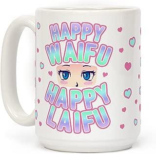 LookHUMAN Happy Waifu Happy Laifu White 15 Ounce Ceramic Coffee Mug