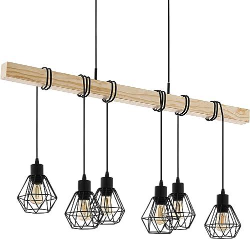 EGLO Lámpara de Colgante Townshend 5, Lámpara de Suspensión Vintage con 6 Bombillas de Estilo Industrial, Lámpara Col...