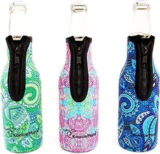 KoozieMate Insulators-Neoprene Beer Bottle Cooler Sleeve with Zipper - Premium Quality Beer Bottle Insulator Sleeves -Set of 3-12 oz Coolies Multi Print -Keep Your Drink Cold Neoprene Cover