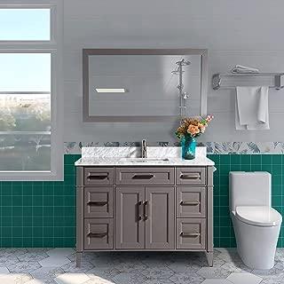 Vanity Art 48 Inch Single Sink Bathroom Vanity Set | Carrara Marble Stone Soft Closing Doors Undermount Rectangle Sink with Free Mirror - VA2048-G