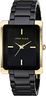 Anne Klein Women's AK/2952BKGB Gold-Tone and Black Ceramic Bracelet Watch