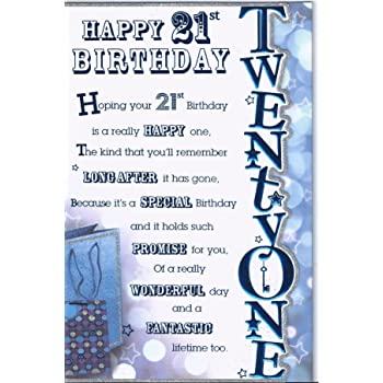 Happy 21st Birthday Male General Mens Boys Greetings Card Amazon Co Uk Office Products