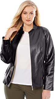 0e42034eb13 Jessica London Women s Plus Size Zip Front Leather Jacket