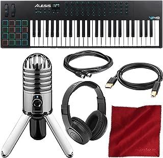 Alesis VI49 49-Key USB MIDI Keyboard & Drum Pad Controller with Samson Meteor Mic USB Microphone and Headphones Deluxe Bundle