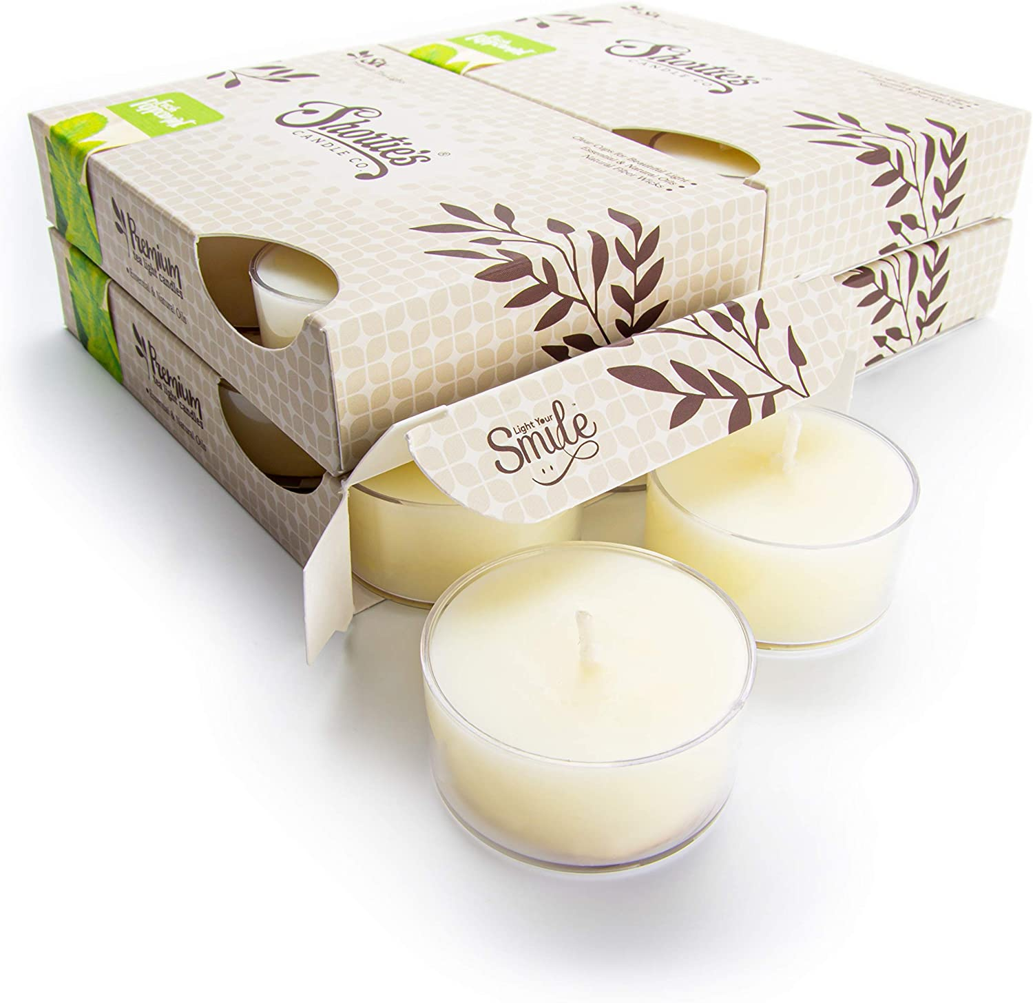 Fresh Peppermint Tealight Candles Bulk Pack (24 White Highly Sce