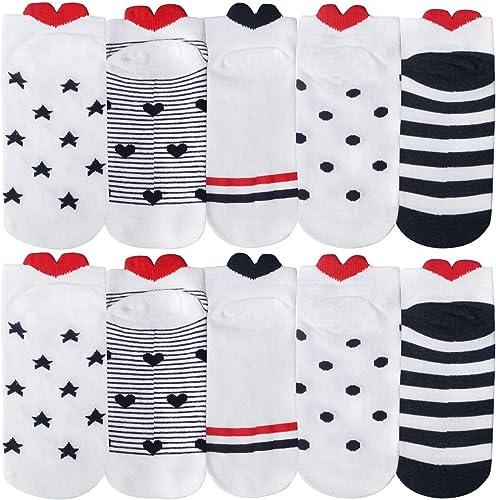 10 Paires de Chaussettes Femme pour Dames, Chaussettes de Conception de Coeur d'amour Mignon pour Femmes,Multicolor,T...