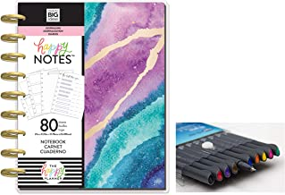 me & My Big Ideas: Medium/Classic Happy Notes Journal Agate and Comes with Kemah Craft 10 Pc Fineliner Color Pen (PBJR-05)