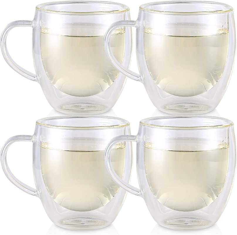 Teabloom Double Walled Cups Set Of 4 Insulated Glass Cups For Tea Coffee Espresso And More 8 Oz 250 Ml