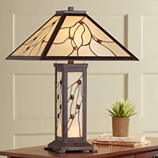 Bexley Mission Table Lamp with Nightlight Classic Bronze Antique Stained Glass for Living Room Family Bedroom Bedside - Robert Louis Tiffany