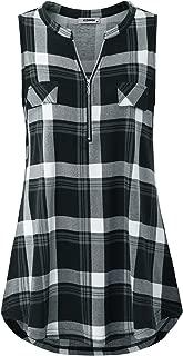 Women's Zip V Neck Short Sleeve/Sleeveless Casual Plaid Shirt