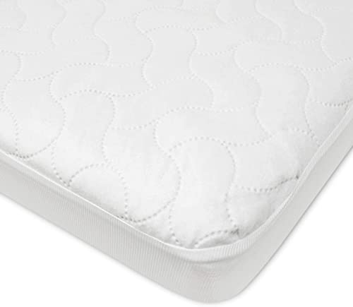 American Baby Company Waterproof Fitted Crib and Toddler Protective Mattress Pad Cover, White (Pack of 1), for Boys a...