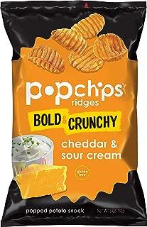 Popchips Ridges Cheddar & Sour Cream Potato Chips Single Serve 5oz Bags (Pack of 12)