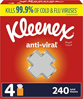 Kleenex Facial Anti-Viral, 4 Cube, 60 per Box (240 Tissues Total), Count (Pack of 4)