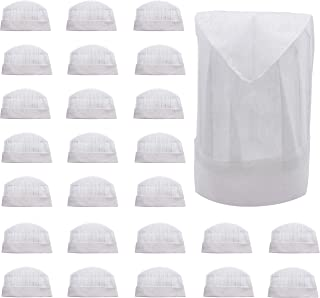 25 Disposable Paper Chef Hats Toques Adult or Kid Pizza Party Favors Decorations