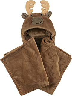 Hudson Baby Unisex Baby and Toddler Hooded Plush Blanket, Moose, One Size