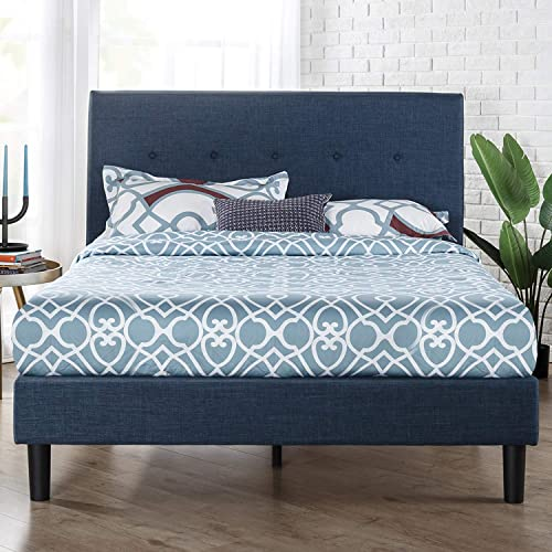 Zinus Omkaram Double Upholstered Fabric Bed Frame | Button Detailed Bed Head, Metal Frame, Strong Wood Slat Support -...