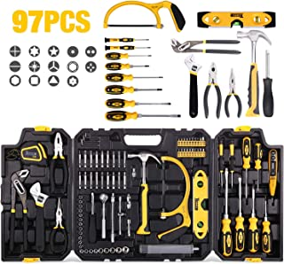 Tool Set, TECCPO 97PCS General Household Tool Kit with Hammer, Wrenches, Precision Screwdriver Set, Pliers, Flex Shaft, Multiple Acccessories and Toolbox Storage Case for Home Maintenance -THTC02H