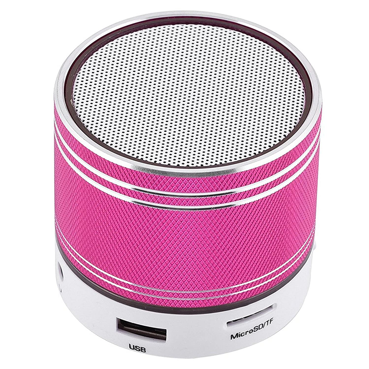 Small Bluetooth Speaker Universal Stereo Sound Speaker Wireless Handsfree Call Desktop Speaker Compatible with Android Smart Cell Phones Laptops PC Home Travel Office Car Hotpink