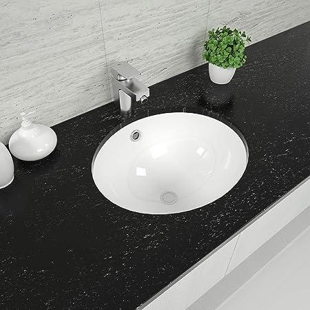 Amazon Com Oval Undermount Bathroom Sink Mocoloo 19 X16 Bathroom Sink Modern Pure White Oval Shape Porcelain Ceramic Lavatory Vanity Top Basin Single Bowl Install Under The Counter Home Improvement