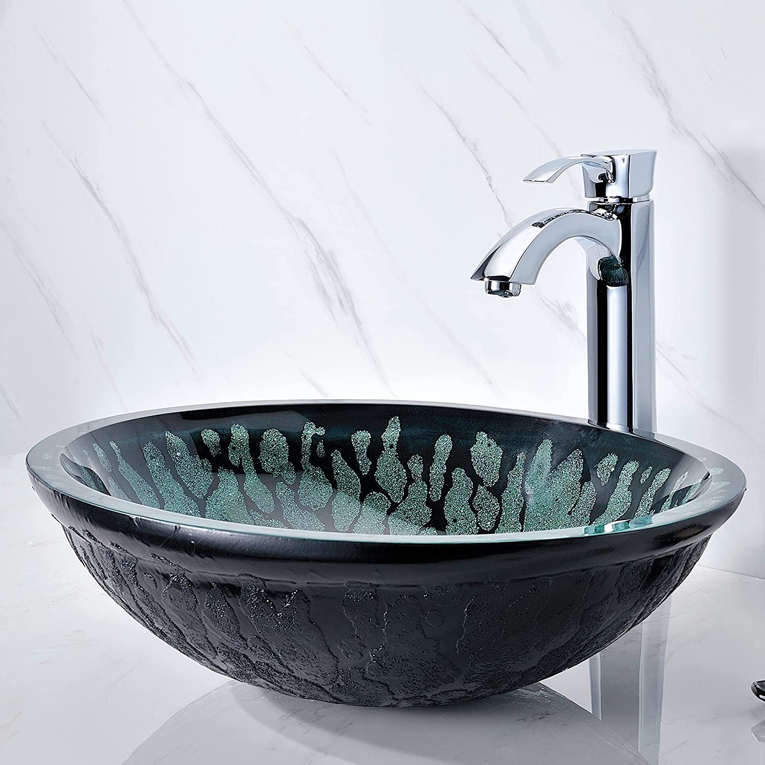 Buy Anzzi Bravo Series Modern Tempered Glass Vessel Bowl Sink In Lustrous Black Top Mount Bathroom Sinks Above Counter Round Vanity Countertop Sink Bowl With Pop Up Drain Ls Az043
