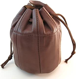 Mr. Brog Sheep Napa Authentic Leather Pipe Tobacco Pouch - Drawstring and Snap Bag - Chocolate Brown