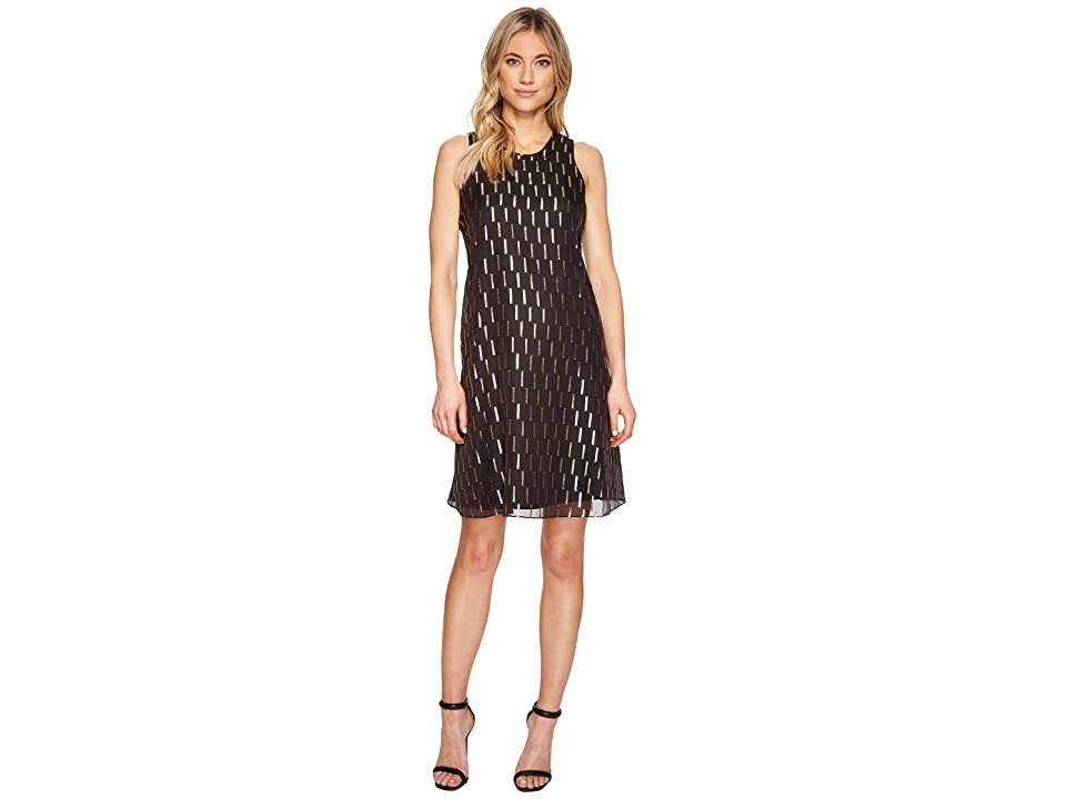 Calvin Klein Gold Tab Trapeze Dress CD7H487T (Black/Gold) Women