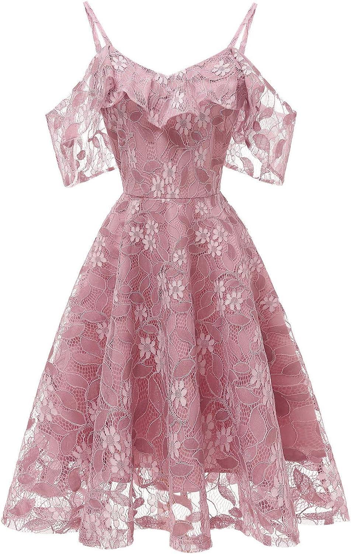 Seeyeah Women Vintage Dress Floral Lace Cocktail Neckline Party Swing Sleeveless Princess Dress