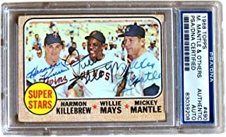 Harmon Killebrew Willie Mays Mickey Mantle Triple Signed 1968 Topps #490 Card Slabbed PSA