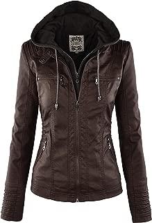 Women's Hooded Faux Leather Moto Biker Jacket (XS~2XL)