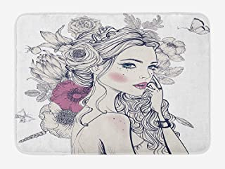 SJuczi Floral Bath Mat, Portrait of a Beautiful Woman with Flowers on Her Hair and Butterflies Pattern, Plush Bathroom Decor Mat with Non Slip Backing,Pearl and White 19.7x31.5 in