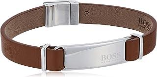 HUGO BOSS MEN'S STAINLESS STEEL & LIGHT BROWN LEATHER BRACELETS -1580046 One size