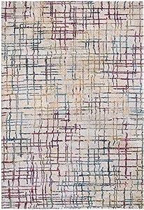 MyShop24h - Tappeto a Pelo Corto, Stile Moderno, a Quadretti, mélange, 67 x 130 cm