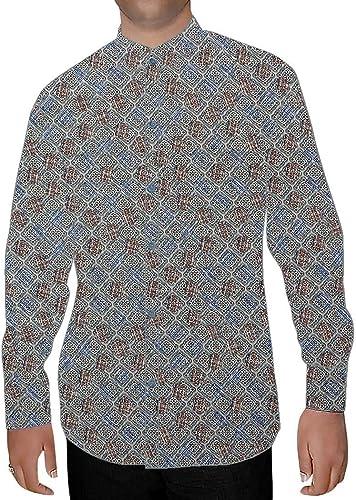 INMONARCH Bleu Ciel Hommes Chemises à Col Nehru Imprimé Motif Boîte NSH15972