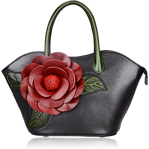 PIJUSHI Designer Purses and Handbags for Women Leather Satchel Flower Handbag