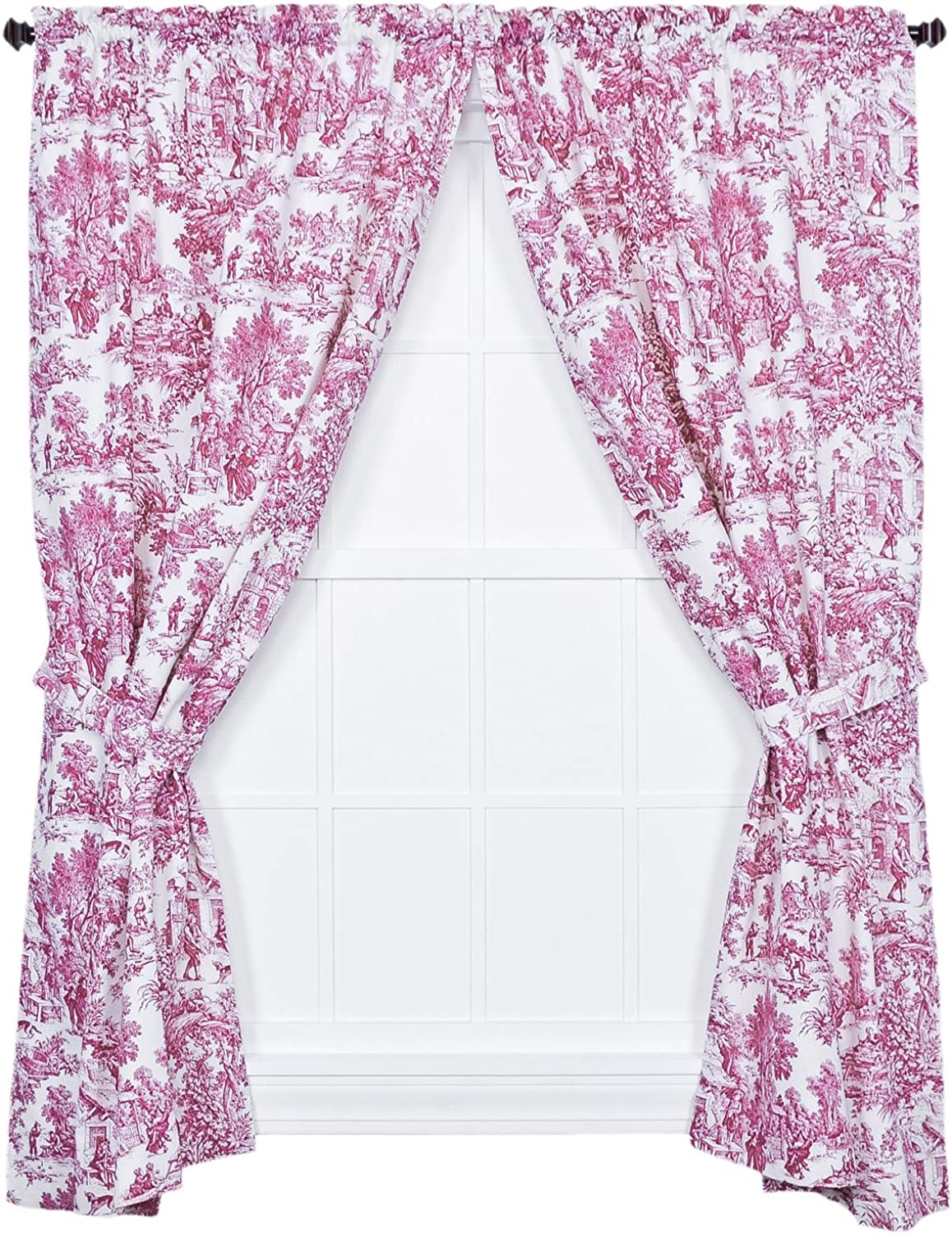 Ellis Curtain Victoria Park Toile 68-Inch-by-63 Inch Tailored Panel Pair with Tiebacks, Red