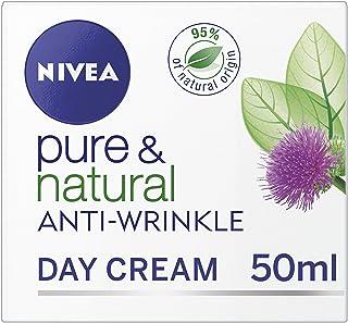 Nivea Pure & Natural–día antiarrugas crema para la cara 50ml pack de 3