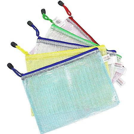 Wskderliner 10 Pièces Pochette Document Zippée sac Plastique Transparent de Classement en PVC Portable Dossiers Fichiers Fermeture Éclair Sacs A5 Scolaire Organiseur