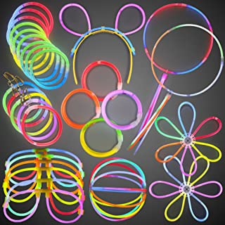 FlashingBlinkyLights Glow Stick Party Favor Pack- Bulk Glow Bracelets in Assorted Colors & Connectors to Make Glowstick Necklaces, Glow in the Dark Glasses, Earrings & More