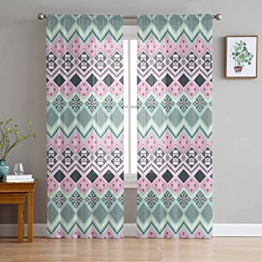 Semi Sheer Curtains with Rod Pocket India Traditional Geometric Patterns Curtain Panels for Living Dining Room, 2 Panels (Eac