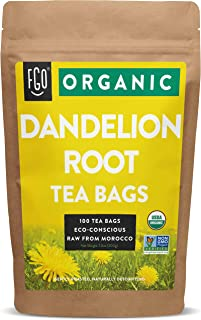 Organic Roasted Dandelion Root Tea Bags | 100 Tea Bags | Eco-Conscious Tea Bags in Kraft Bag | Raw from Morocco | by FGO